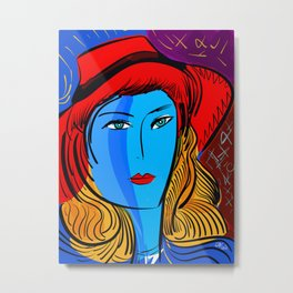 Christmas Blue Pop Girl with Red Hat Metal Print