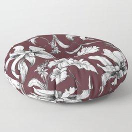 Burgundy Floral Vintage Style Pattern Floor Pillow