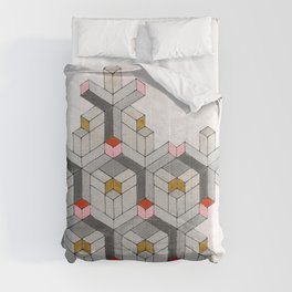 Cubed Pink Abstract Geometric Modern Art Comforters