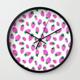 Pink Strawberries by Minikuosi Wall Clock