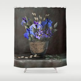 Japanese Iris and Willow Shower Curtain