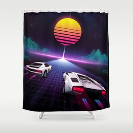 Neon Skyway Shower Curtain