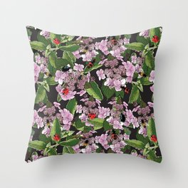 Floral insects pattern Throw Pillow