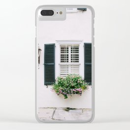 Charleston Black Shutters and Colorful Window Box Clear iPhone Case