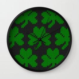 Shamrock pattern - black, green Wall Clock
