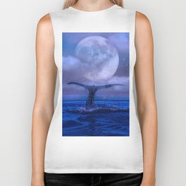 WHALE SWIMMING WITH FULL MOON Biker Tank