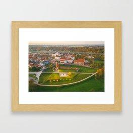 Kaunas old town, aerial view Framed Art Print