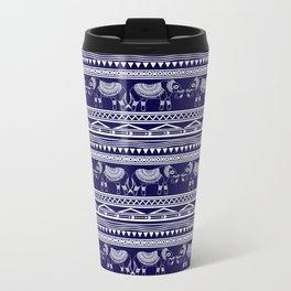 White and Navy Blue Elephant Pattern Metal Travel Mug