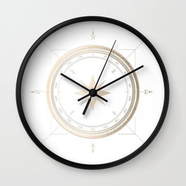 Gold Compass on White II Wall Clock