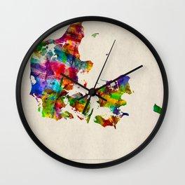Denmark Map in Watercolor Wall Clock