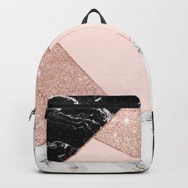 Modern rose gold glitter black white marble geometric color block Backpack