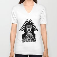 laura palmer V-neck T-shirts featuring She's Filled with Secrets - Laura Palmer - Twin Peaks by Alice Rogers