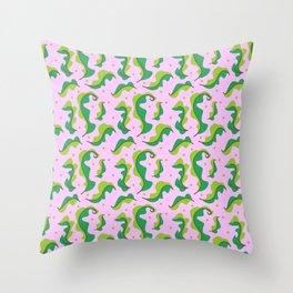 Fresh leaf lettuce pink pattern Throw Pillow
