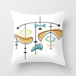 Mid Century Modern Abstract Atomic Age Throw Pillow