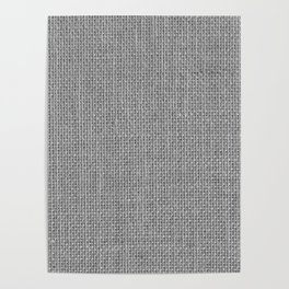 Natural Woven Silver Grey Burlap Sack Cloth Poster