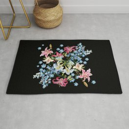 Vintage Delphiniums and lilies watercolor paint on a dark background Rug