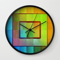 aperture Wall Clocks featuring Aperture #3 Vibrant Fractal Pleat Texture Design by CAP Artwork & Design