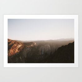 Yosemite sunset with a waterfall in california Art Print