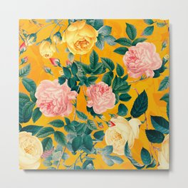 Vintage & Shabby Chic - Summery Yellow Sunny Botanical Rose Garden Metal Print