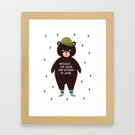 Bear in socks Framed Art Print