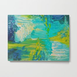 SEASIDE DREAMS - Beautiful Ocean Waves Teal Blue Turquoise Chartreuse Underwater Abstract Painting Metal Print
