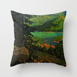 Adirondack Mountains Travel Poster Throw Pillow