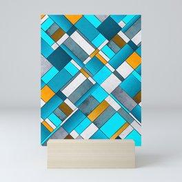 Abstract Art Print  Blue,  Yellow,  Grey , Orange - diagonal pattern Mini Art Print