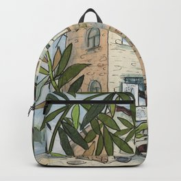 Courtyard in Haifa, Cityscape Travel Israel Paper Collage Ink Sketch Backpack