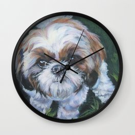 SHIH TZU dog art portrait from an original painting by L.A.Shepard Wall Clock