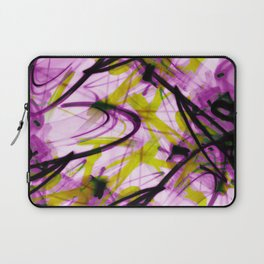All Over Abstract Pollock Style Purple and Green Laptop Sleeve
