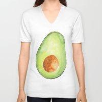avocado V-neck T-shirts featuring Avocado by Bridget Davidson