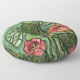 In the Garden ~ Nasturtium Floor Pillow