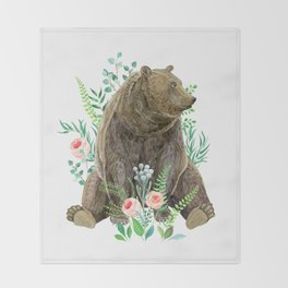 bear sitting in the forest Throw Blanket