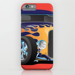 Vintage Hot Rod Car with Classic Flames iPhone Case
