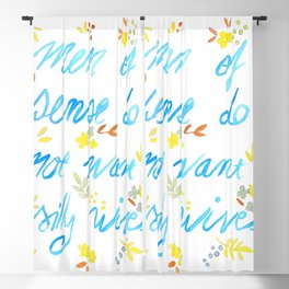 Men of sense do not want silly wives - Blue & Yellow Palette Blackout Curtain