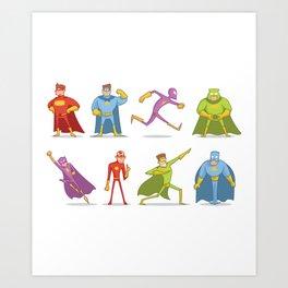 Funny Superheroes Art Print