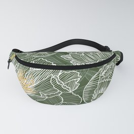 Peonies #1 White Line Art on Green Fanny Pack
