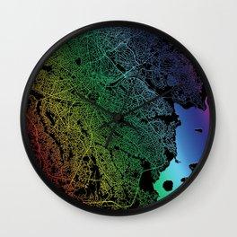 Kampala, Uganda, City, Map, Rainbow, Map, Art, Print Wall Clock