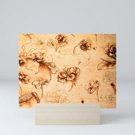 Da Vinci Flower Study Gold By Da Vinci Mini Art Print