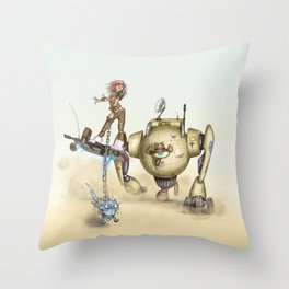 Cowbot 2000 & crew Throw Pillow