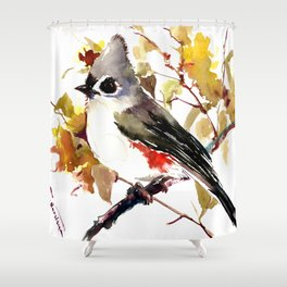 Titmouse and Fall colors foliage bird art design bird lover gift vintage style Shower Curtain