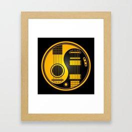 Yellow and Black Acoustic Electric Yin Yang Guitars Framed Art Print