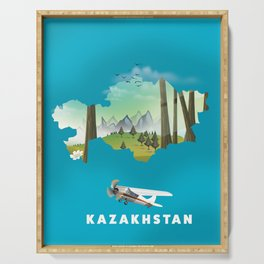 Kazakhstan map Serving Tray