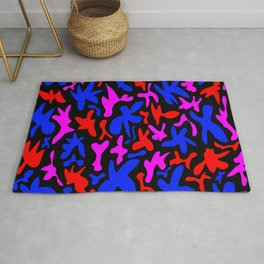 Abstract cute whimsical quirky playful funny figures. Colorful modern fanciful funky trendy design Rug