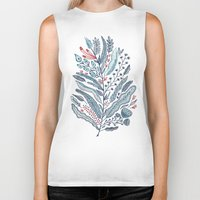 leaf Biker Tanks featuring Turning Over A New Leaf by Monica Gifford