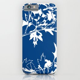 maple tree leaves blue and white iPhone Case