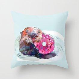 Otter Donut Throw Pillow