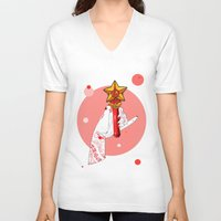 mars V-neck T-shirts featuring Mars by scoobtoobins