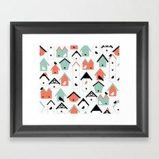 birds and houses Framed Art Print