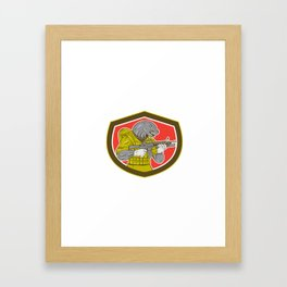 Navy Seal With Armalite Rifle Shield Framed Art Print